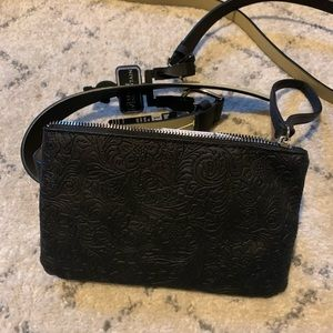Handbags - Black genuine leather fanny pack with extra belt